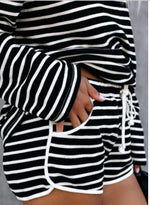 Load image into Gallery viewer, Black Striped Lounge Short Set