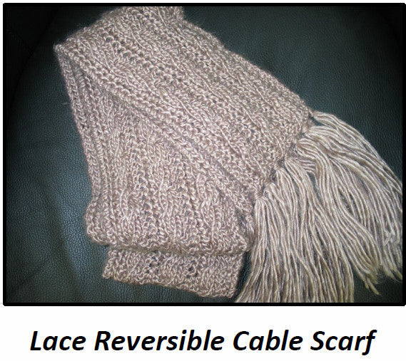 Lace Knit Reversible Cable Scarf