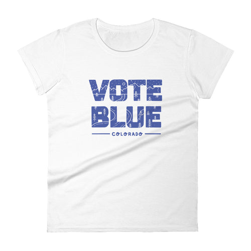 Vote Blue Colorado Women's T-shirt by Emily Mulvey - Blue Text