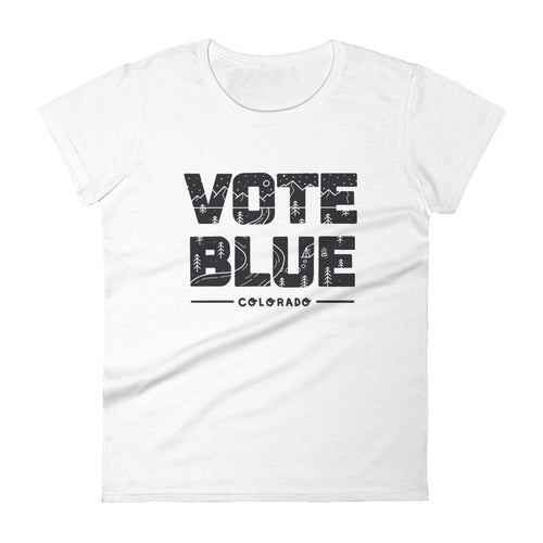 Vote Blue Colorado Women's T-Shirt by Emily Mulvey - Black Text