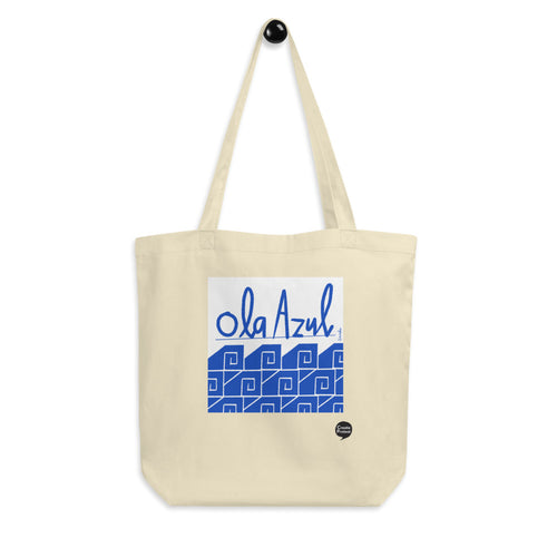 Ola Azul/Blue Wave Eco Tote Bag by Florencio Zavala