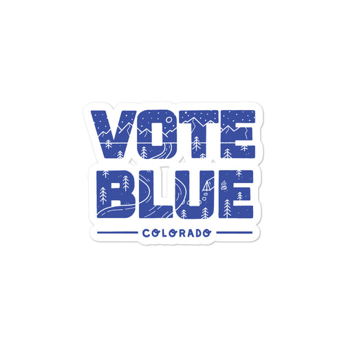 Vote Blue Colorado Stickers by Emily Mulvey - Blue
