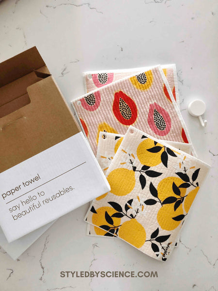 Papaya Reusable Paper Towels Lemons and Papayas Design