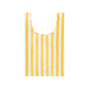 Reusable shopping bag with vintage yellow and white stripe design