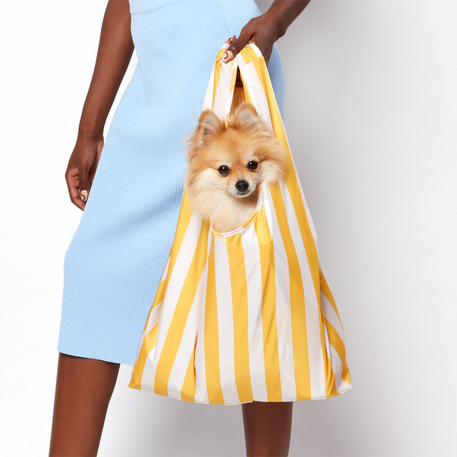 Model holding reusable shopping bag with yellow stripe design and cute Pomeranian dog inside bag