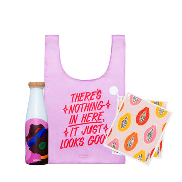 Reusable bundle with water bottle woman design, shopping bag in pink and red and paper towels with papaya design