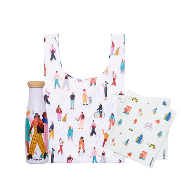 Reusable bundle with water bottle fashion design, shopping bag people design and paper towel city design