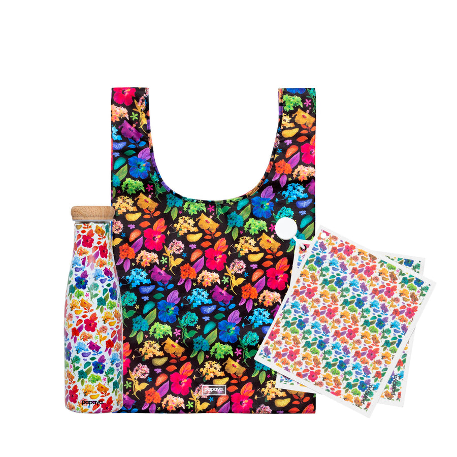 Reusable product bundle in bright floral designs by artist Ramzy Masri