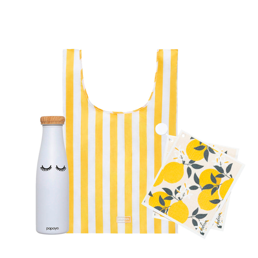 Reusable bundle with water bottle eyelashes design, shopping bag in yellow stripes and paper towels with lemon design