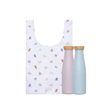 Reusable shopping bag in minimal yoga design and two reusable water bottles in soft lilac and soft blue colors