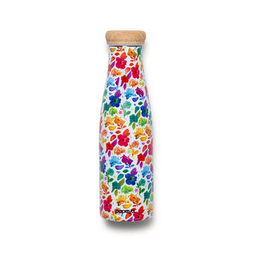Reusable stainless steel water bottle with bright and colorful flower design by artist Ramzy Masri