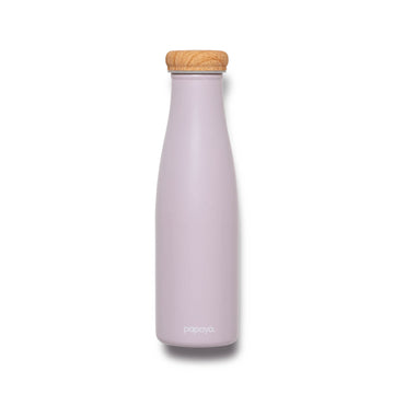 Reusable stainless steel water bottle in soft lilac with bamboo color cap