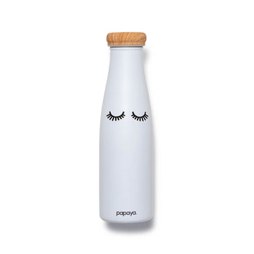 Reusable stainless steel water bottle in white with cute eyelashes design and bamboo color cap