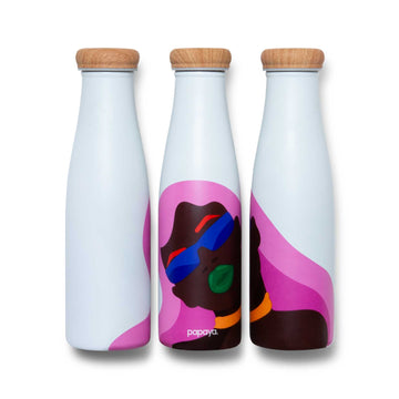 Three reusable stainless steel bottles with pink haired woman design by artist Laci Jordan