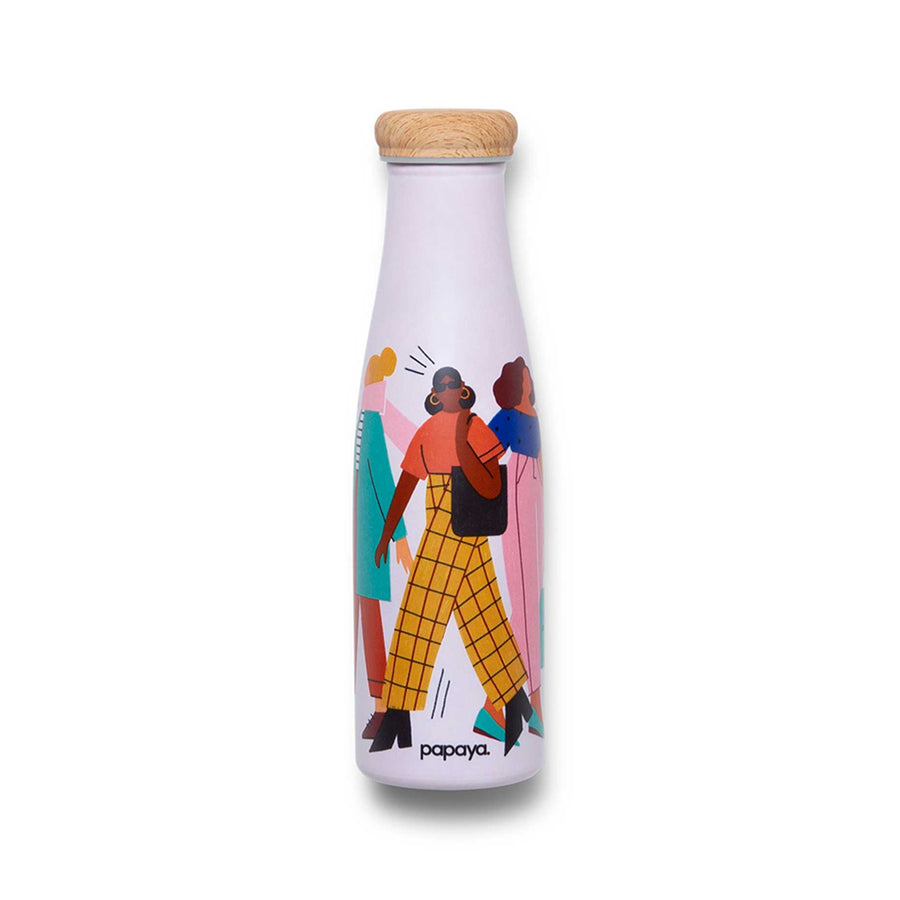 Reusable stainless steel water bottle with illustrated women in fashion outfits design by artist Abbey Lossing