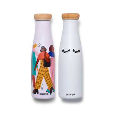 Two reusable stainless steel water bottles bundle street fashion women design and cute black and white eyelashes design