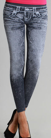 Premium Washed Denim Look Leggings by Nikibiki