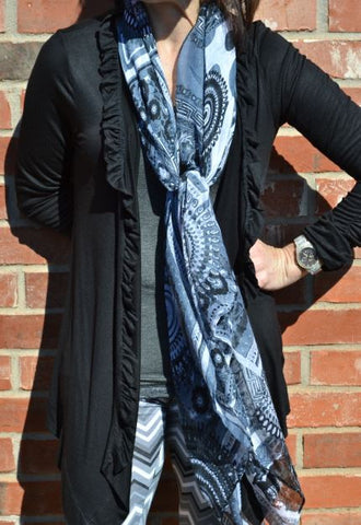 Cardigan - Black with Ruffle