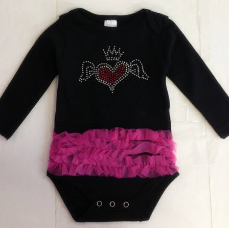 Black Long Sleeve Onsie with Pink Ruffle Little Bling