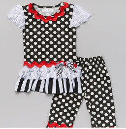 Little Bling Black and White Polka Dot