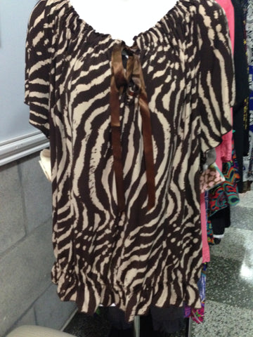 Brown Zebra Top Plus Size