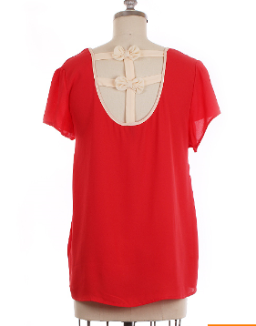 Dark Coral Chiffon Top with Back Bows