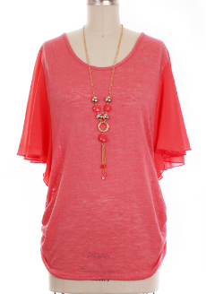 Coral Knit Top with Chiffon Sleeves