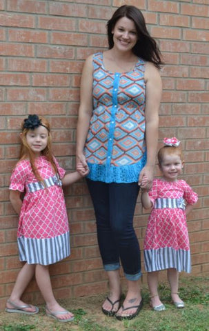 Pink and Gray Stripe Little Bling Dress