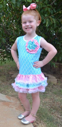 Blue and Pink Little Bling Dress with Hair Bow