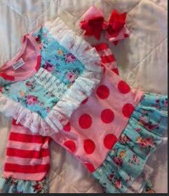 Little Bling Pink Polka Dot, Flower and Stripes Set