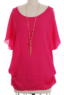 Fuchsia Chiffon Top with Side Shirring