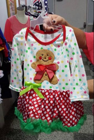 Little Bling Christmas Gingerbread Dress (ONLY ONE LEFT)
