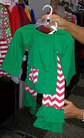 Little Bling Christmas Green & Chevron Pants Set (ONLY ONE LEFT)