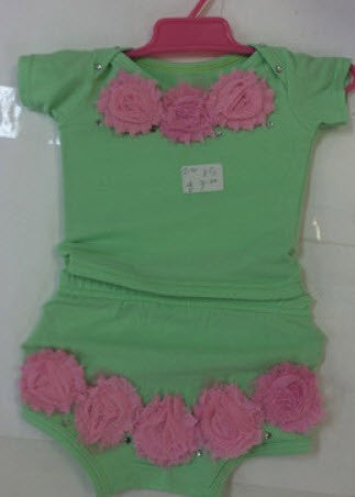 Green 2 Piece Little Bling with Rose Detail and Bow