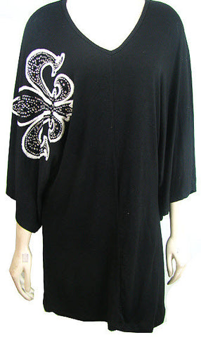 Black Top with Fleur De Lis Design Plus