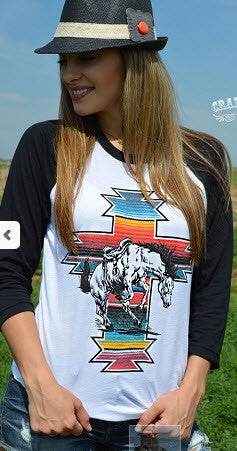 "Baseball Tshirt ""Serape war paint"" by Crazy Train"
