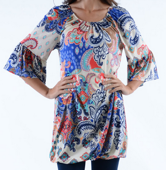 Bright Paisley Dress/Long Top - Plus