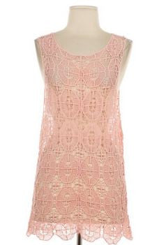 Peach Crochet Sleeveless Top