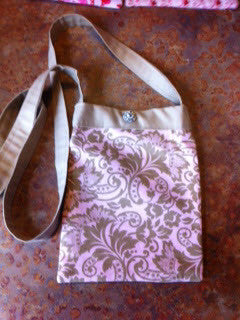 Custom made Shopping Purse- Beige and Pink