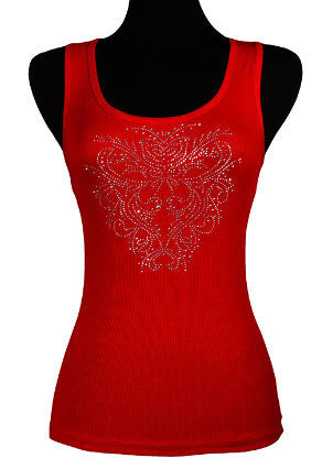 Red Ladies Tank Top with Bling