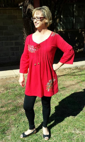 Red Long Top with Embroidery Flowers