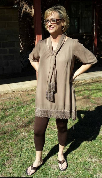 Mocha Top with Scarf