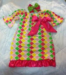Pink, Yellow and Green Little Bling Dress with Hair Bow