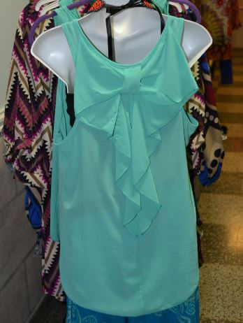Mint Top with Bow Back