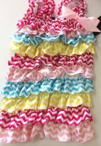 Chevron Multi Color Little Bling Romper