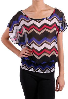 Chevron Royal Blue Top