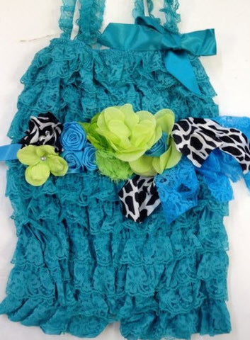 Teal Lace Little Bling Romper with Belt