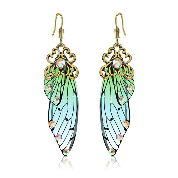 Handmade Fairy Wing Earrings - Green