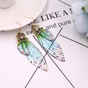 Open image in slideshow, Handmade Fairy Wing Earrings - Green