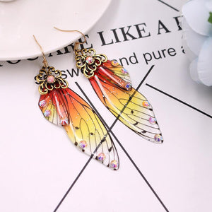 Open image in slideshow, Handmade Fairy Wing Earrings - Orange